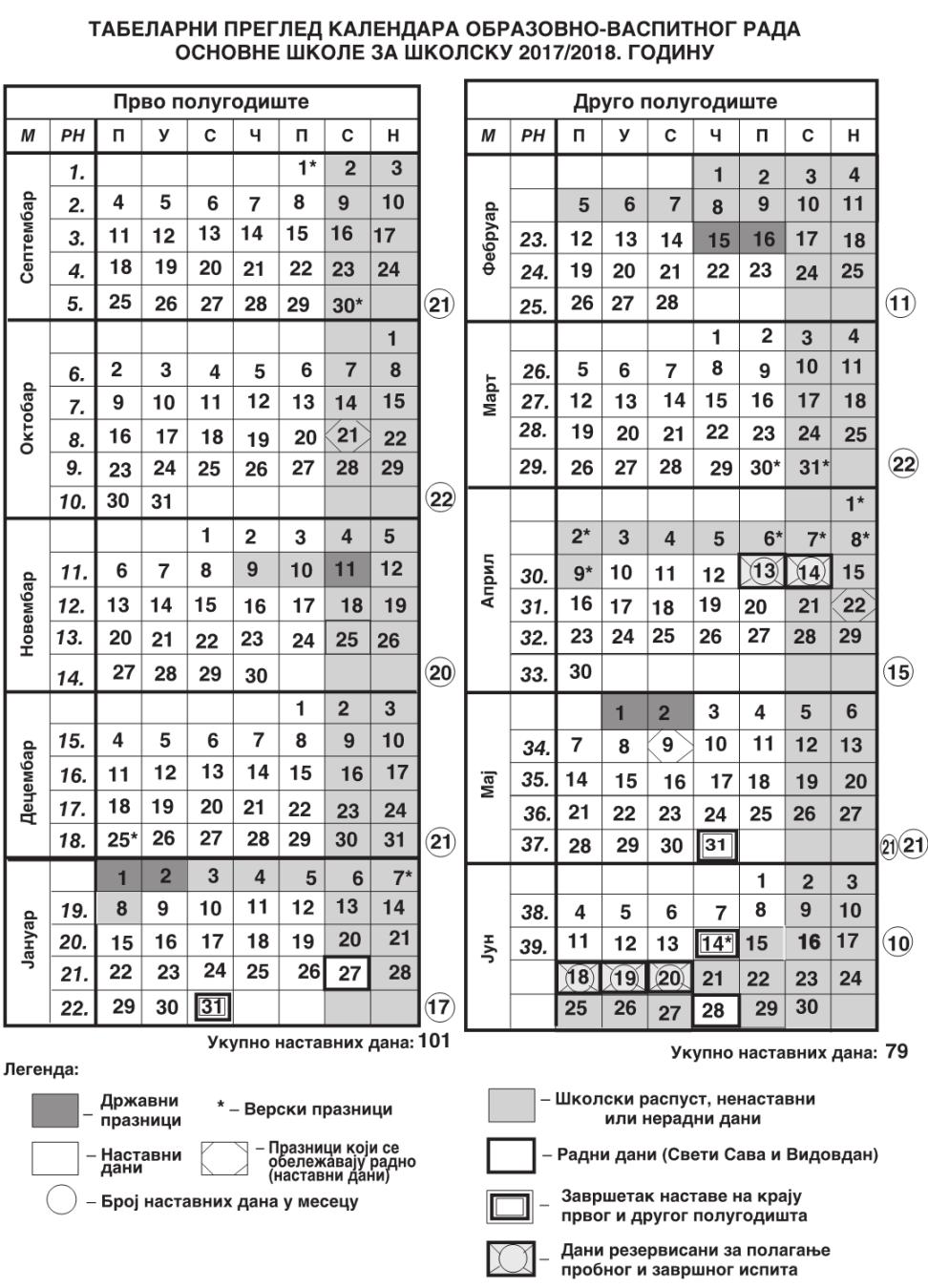 Rezultat slika za школски календар 2017/18